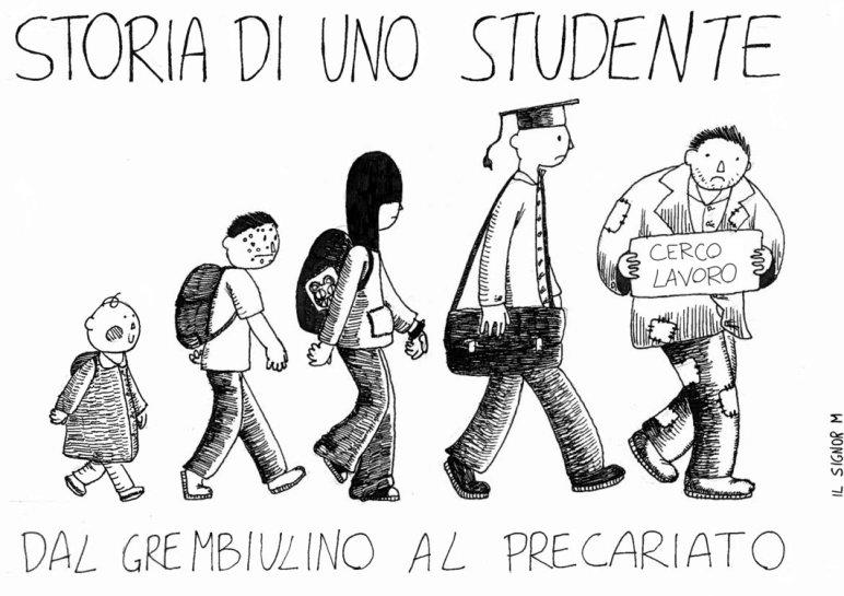 Vignetta che mostra l'evoluzione umana: da bambino a studente fino al disoccupato